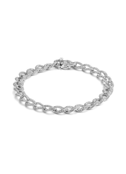 Diamond Point Caviar bracelet in 14 karat white gold