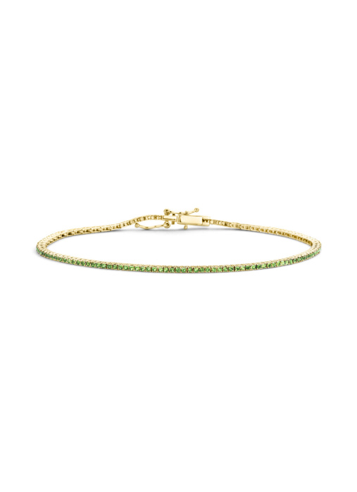 Diamond Point Geelgouden armband, 0.79 ct smaragd, Tennis bracelet