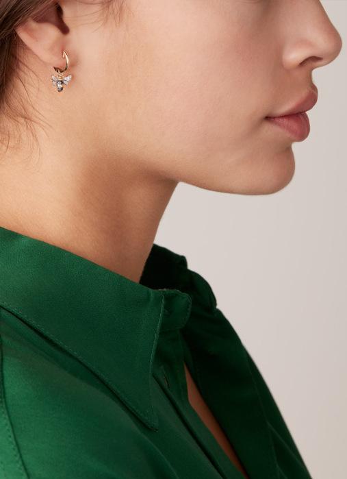 Diamond Point Geelgouden oorsieraden, 0.14 ct diamant, Queen Bee