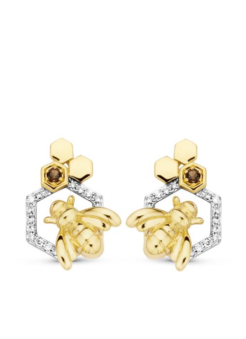 Diamond Point Queen bee earrings in 14 karat yellow gold
