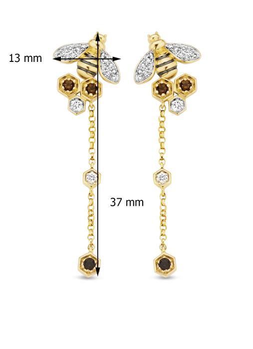 Diamond Point Geelgouden oorsieraden 0.18 ct rookkwarts Queen Bee