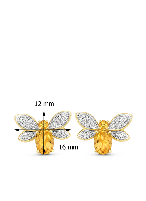 Diamond Point Geelgouden oorsieraden 1.55 ct citrien Queen Bee