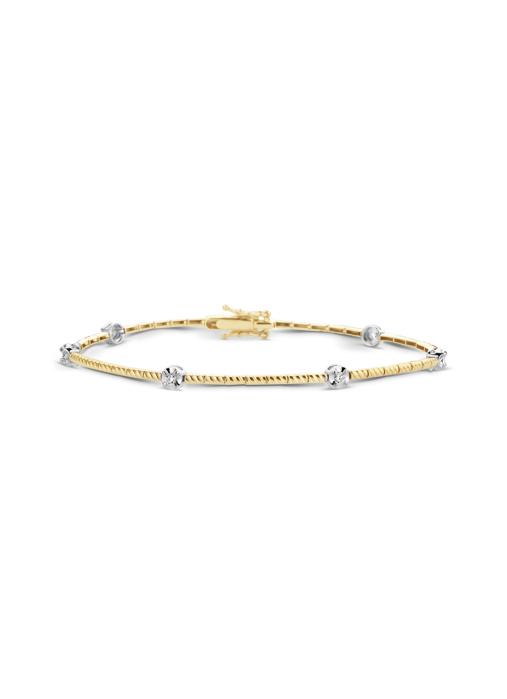 Diamond Point Ensemble Armband in 14 karaat geel- en witgoud