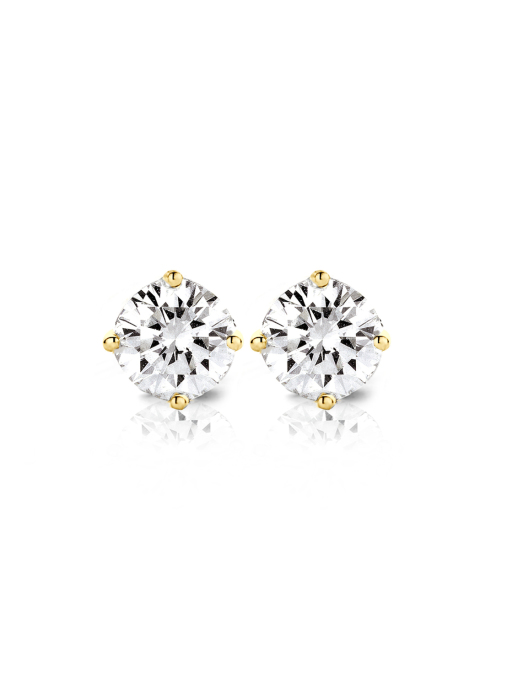 Diamond Point Solitair earrings in 18 karat yellow gold