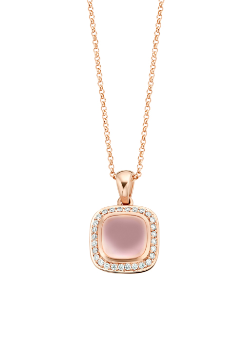 Diamond Point Roségouden hanger, 3.73 ct roze kwarts, Rhapsody