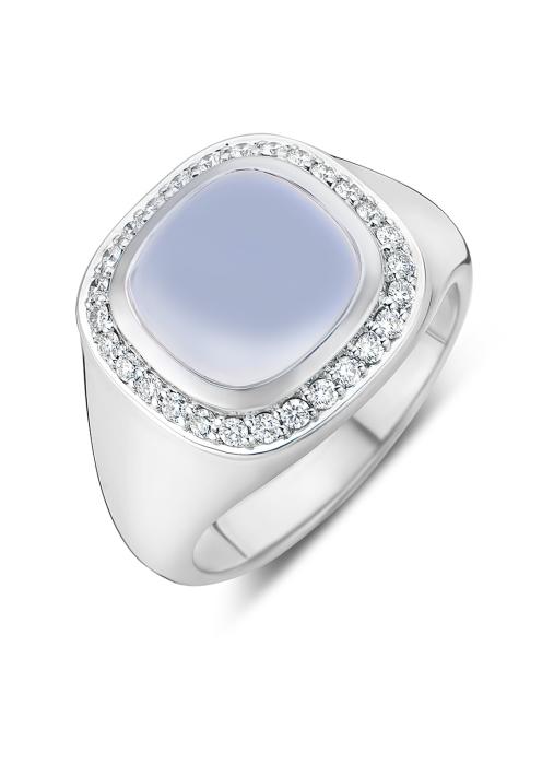 Diamond Point Witgouden ring, 3.36 ct chalcedoon, Rhapsody