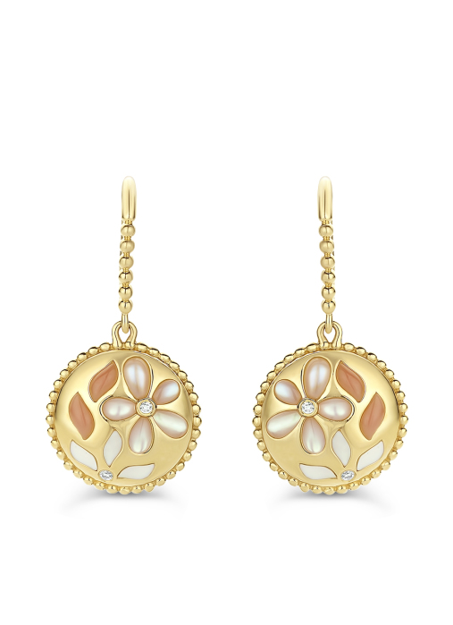 Diamond Point Mother of Pearl Ohrringe in 18K Gelbgold