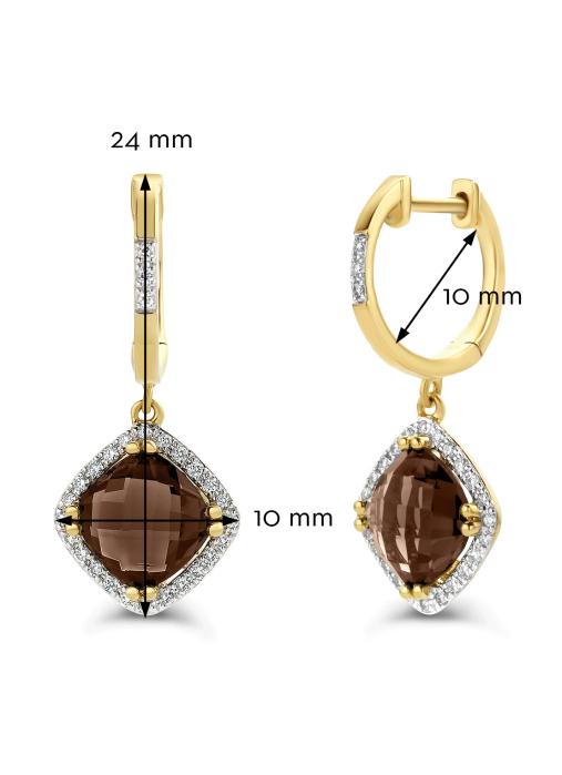 Diamond Point Geelgouden oorsieraden 2.94 ct rookkwarts Fiësta