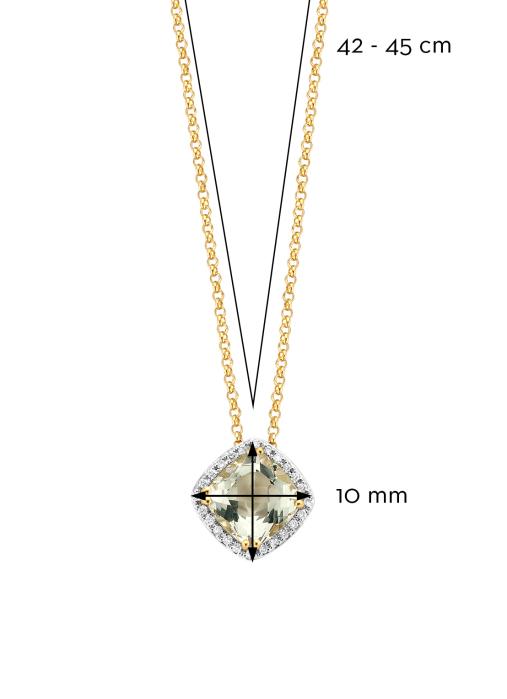 Diamond Point Geelgouden hanger 1.61 ct groene amethist Fiësta