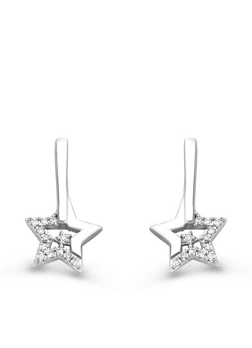 Diamond Point Dreamer earrings in 14 karat white gold