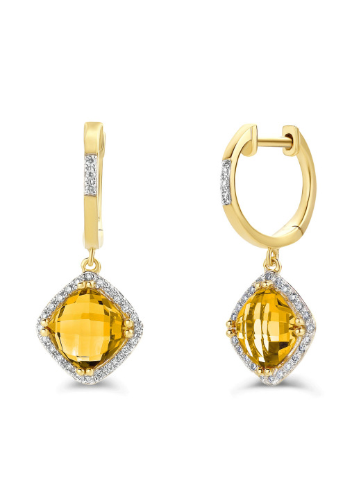 Diamond Point Fiësta earrings in 14 karat yellow gold