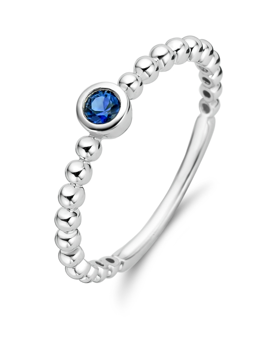 Diamond Point Witgouden ring, 0.12 ct blauwe saffier, Ensemble