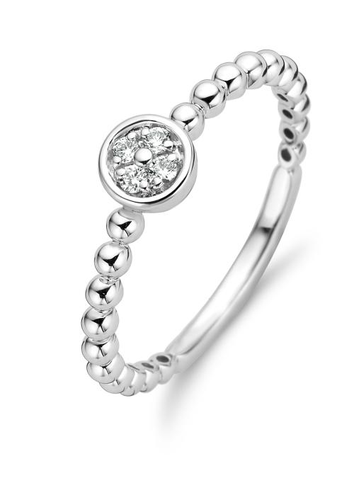 Diamond Point Witgouden ring, 0.06 ct diamant, Ensemble