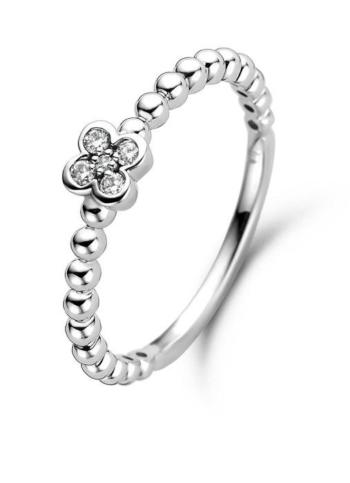 Diamond Point Witgouden ring, 0.07 ct diamant, Ensemble