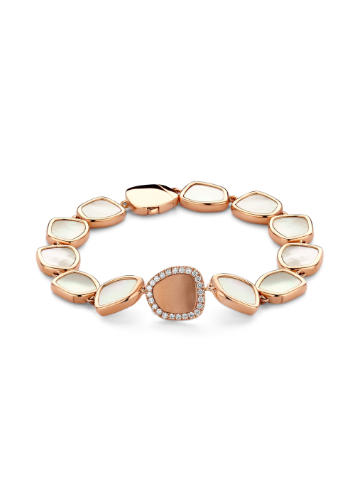 Diamond Point Mother of Pearl Armband in 14K Roségold