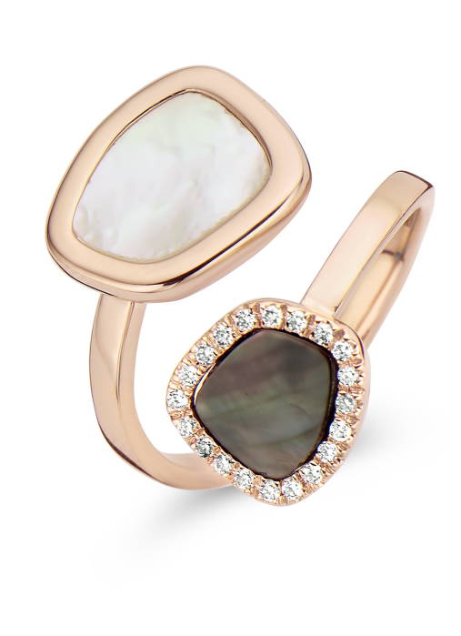 Diamond Point Mother of Pearl Ring in 14K Roségold