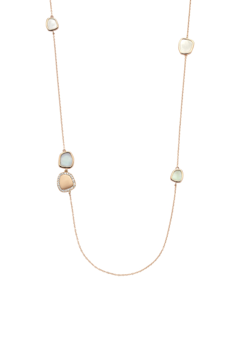 Diamond Point Mother of Pearl Halskette in 14K Roségold