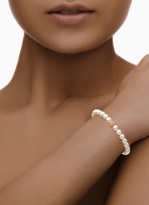 Diamond Point Geelgouden armband witte zoetwaterparel Rivièra