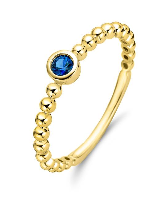 Diamond Point Geelgouden ring, 0.12 ct blauwe saffier, Ensemble