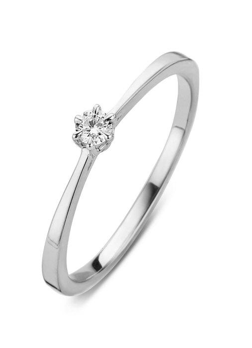 Diamond Point Witgouden ring, 0.10 ct diamant, Starlight