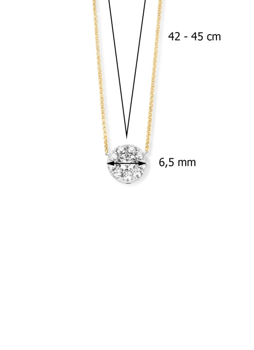 Diamond Point Hearts & arrows pendant in 18 karat yellow and whitegold