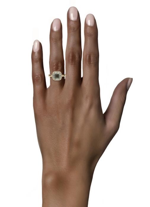 Diamond Point Geelgouden ring 2.40 ct groene amethist Fiësta
