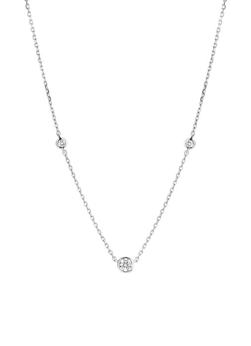 Diamond Point Solitair necklace in 14 karat white gold
