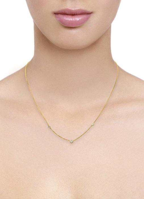 Diamond Point Solitair necklace in 14 karat yellow gold