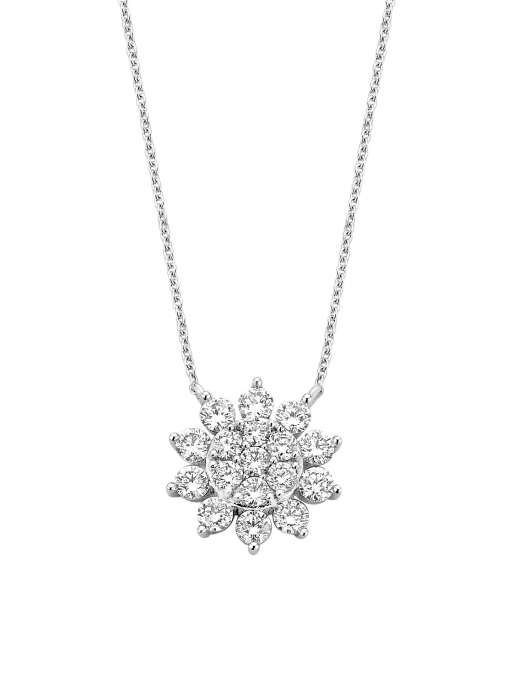 Diamond Point Witgouden collier, 0.70 ct diamant, Entourage
