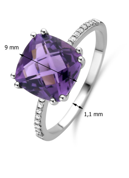 Diamond Point Witgouden ring, 3.14 ct amethist, Colors