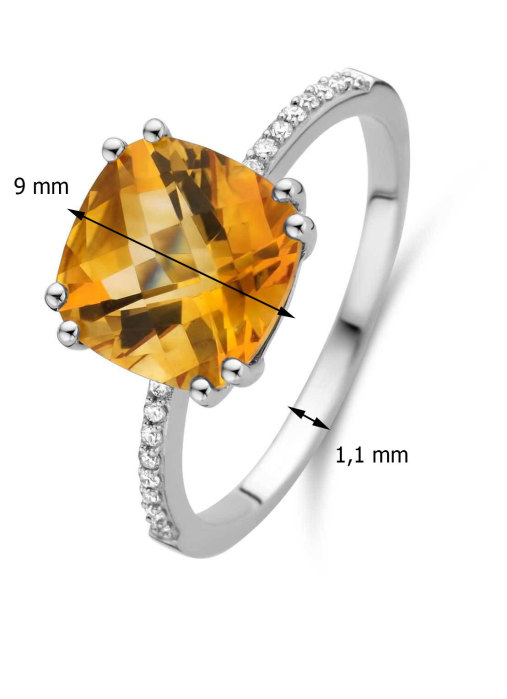 Diamond Point Witgouden ring, 2.86 ct citrien, Colors