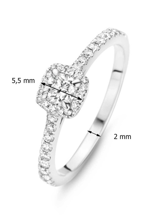 Diamond Point Witgouden ring, 0.46 ct diamant, Hearts & Arrows