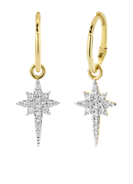 Diamond Point Cosmic earrings in 14 karat yellow gold with white rhodium