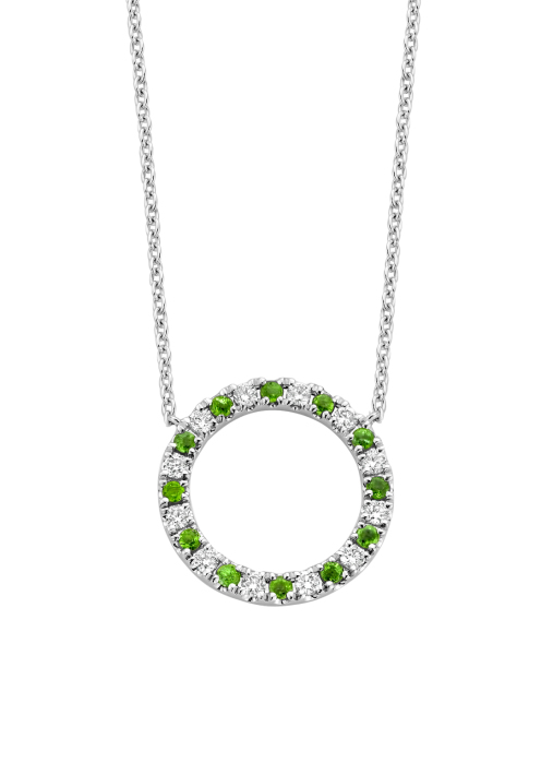 Diamond Point Colors necklace in 14 karat white gold