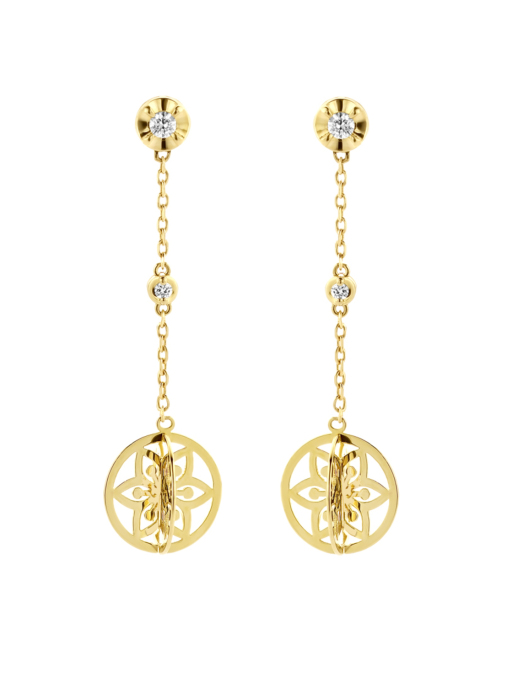Diamond Point Symbols earrings in 14 karat yellow gold