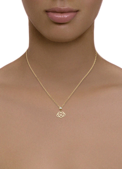 Diamond Point Symbols necklace in 14 karat yellow gold
