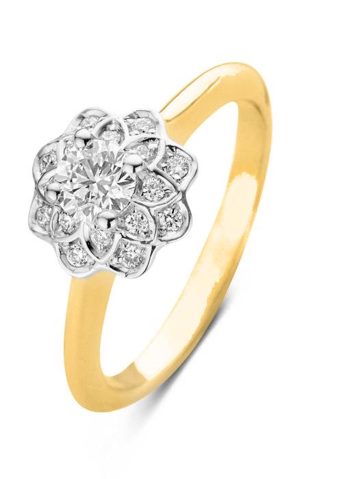 Diamond Point Geelgouden ring, 0.42 ct diamant, Hearts & Arrows