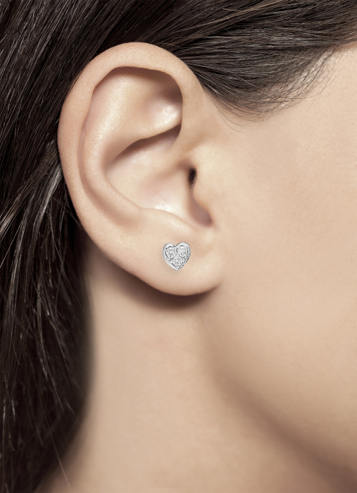 Diamond Point Symbols earrings in 14 karat white gold