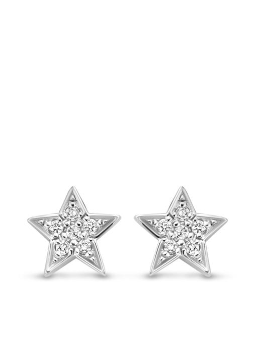 Diamond Point Witgouden oorsieraden, 0.03 ct diamant, Cosmic