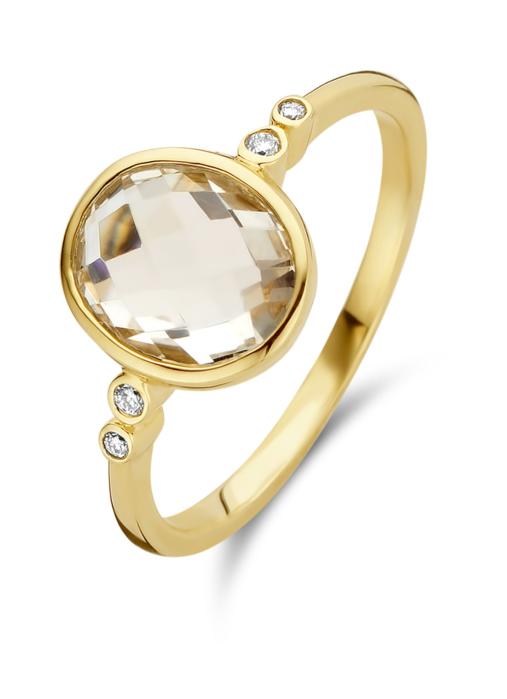 Diamond Point Geelgouden ring, 2.47 ct witte topaas, Philosophy
