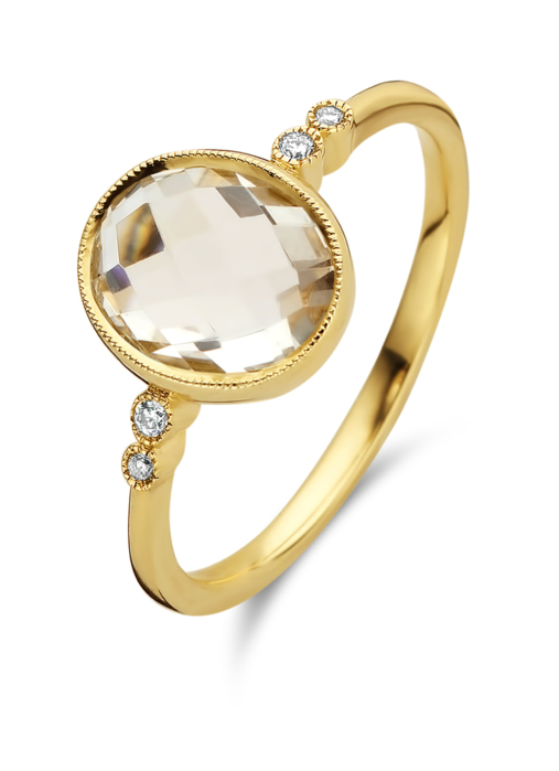 Diamond Point Geelgouden ring, 2.47 ct witte topaas, Philosophy