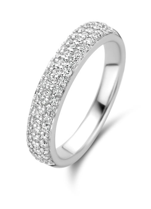 Diamond Point Witgouden ring, 0.45 ct diamant, Caviar