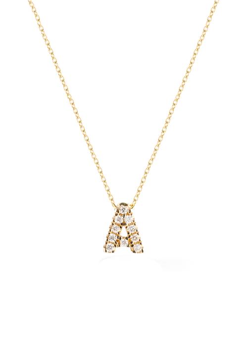 Diamond Point Alphabet necklace in 14 karat yellow gold