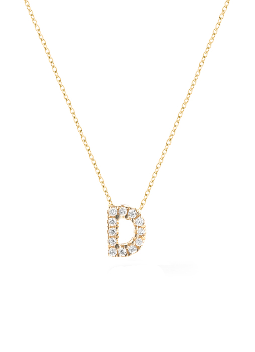 Diamond Point Geelgouden collier 0.02 ct diamant Alphabet