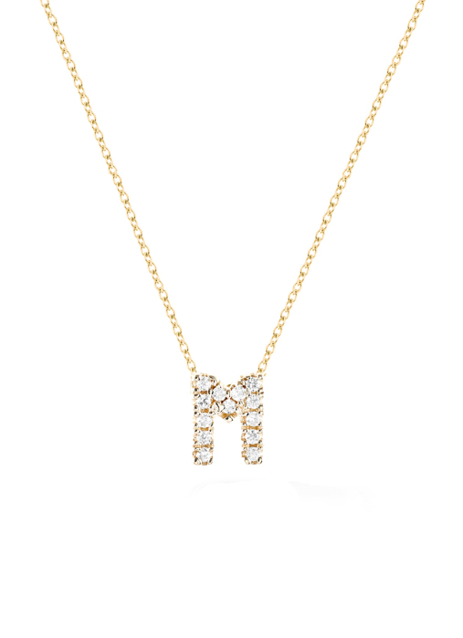 Diamond Point Geelgouden collier, 0.03 ct diamant, Alphabet