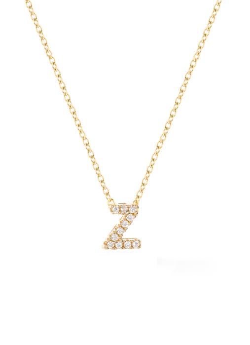 Diamond Point Geelgouden collier, 0.02 ct diamant, Alphabet