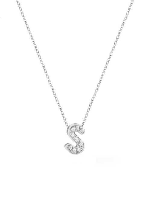 Diamond Point Alphabet necklace in 14 karat white gold