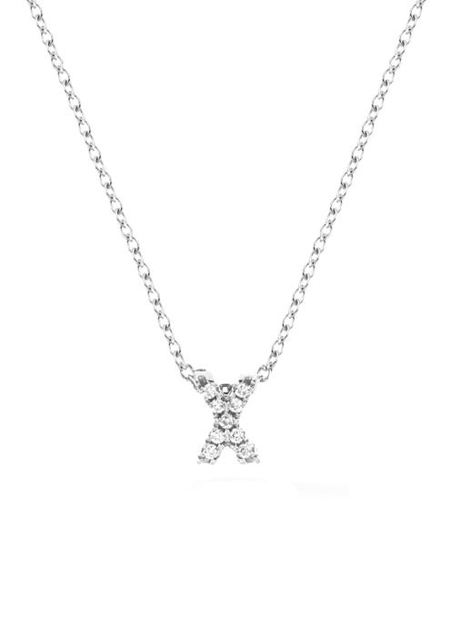 Diamond Point Alphabet necklace in 14 karat white gold