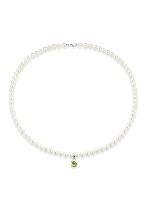 Diamond Point Witgouden collier, 1.00 ct peridoot, Rivièra