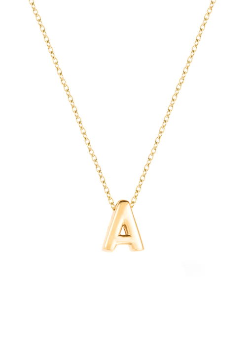 Diamond Point Alphabet necklace in 14 karat yellow gold